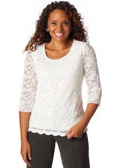 152b1dda1a5 Lace Scalloped Tee - New Knit TopsChristopher   Banks