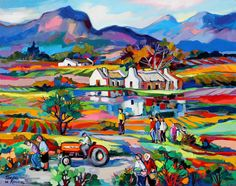 Artwork of Isabel le Roux exhibited at Robertson Art Gallery. Original art of more than 60 top South African Artists - Since Landscape Quilts, Landscape Paintings, Landscapes, Watercolor Scenery, Oil Painting Texture, South African Artists, Tropical Art, Paintings I Love, Collages
