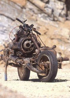 Emile Leray built a working motorcycle from a broken down car (Citroen 2CV) to escape the Northwest African desert. He did it in 12 days using nothing more than a hacksaw & a few basic items found in a toolbox.