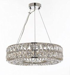 Crystal Spiridon Ring Chandelier Chandeliers Modern / Contemporary Lighting Pendant 20 Wide - Good for Dining Room, Foyer, Entryway, Family Room and More. Foyer Pendant Lighting, Ring Chandelier, Modern Chandelier, Modern Lighting, Chandelier Ideas, Rectangle Chandelier, Light Pendant, Kitchen Lighting, Lighting Ideas