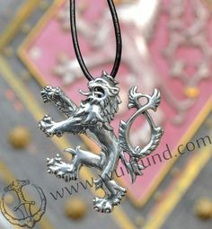 CZECH DOUBLE-TAILED LION, symbol of Bohemia, silver pendant, Ag 925