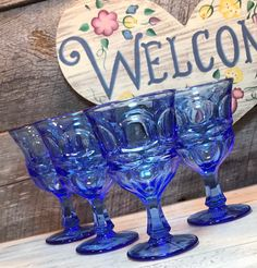 Set of 4 (Four) Vintage Fostoria Argus BLUE Water Goblets, Elegant Table, Weddings, wedding receptions, cottage Fenton Milk Glass, Elegant Table, Wedding Receptions, Vintage Glassware, Vignettes, Boho Wedding, Wine Glass, Cottage, Weddings