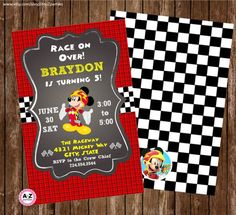 Mickey and the Roadster Racers Personalized Invitation