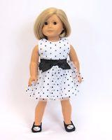 "Doll Clothes AG 18"" Dress Black White Polka Dot Made For American Girl Dolls"