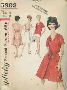 An original ca. 1960's Simplicity Pattern 5302.  Collarless blouse, worn as overblouse or tucked into skirt, has low V neckline, is fitted with front underarm and back shoulder darts.  V.'s 1, 2 have short set-in sleeves.  V.'s 3, 4 are sleeveless.  Inverted pleat is featured at center front of back wrap skirt which fastens in front with self fabric tie ends, is dart fitted at waistline, V. 2 shorts are lined, dart fitted at waistline, have left side zipper closing.