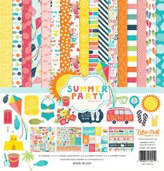 """Echo Park Paper Summer Party Collection 12"""" x 12"""" Scrapbook Paper and Sticker Kit"""
