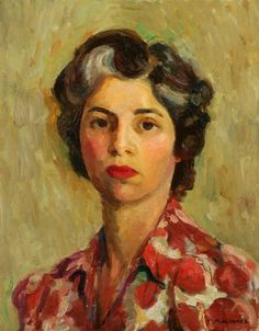 Mabel Alvarez (1891-1985), self-portrait, 1945, was an American painter. Her works, often introspective and spiritual in nature, and her style is considered a contributing factor to the Southern California Modernism and California Impressionism movement.[1]