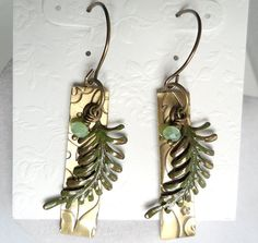 Textured Patterned Golden Brass Jade Patina Green Quartz Fern Leaf Artisan Handmade Earring by ThenThereWereThree on Etsy