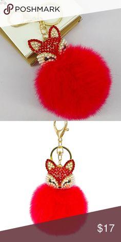 2909f9a553f70 Red Fox Fur Ball Pom Pom Keychain Handbag Charm NWOT Accessories Key   Card  Holders