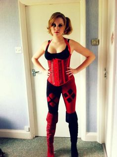 Sophia--Harley Quinn comic con costume (Act Scene Dc Cosplay, Harley Quinn Cosplay, Joker And Harley Quinn, Best Cosplay, Cosplay Girls, Cosplay Costumes, Harley Costume, Cosplay Boots, Awesome Cosplay