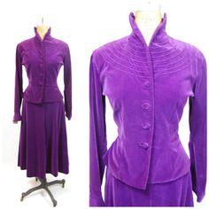 30s 40s Purple Velvet Ladies Suit  1930s by FrocksnFrillsVintage