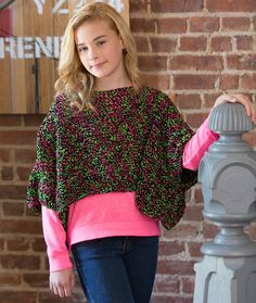 Set the Trend Poncho - Instead of a boring cardigan or jacket wear this new crochet poncho style and look oh-so stylish! It looks great on all ages, as you can see in the second photo on the PDF.