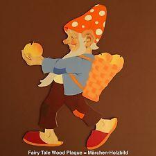 🍄German Vintage Childhood 148: Fairy Tale Wood Plaque HELLERKUNST TOADSTOOL HAT