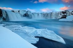 The beautiful and majestic waterfall named Goðafoss (Godafoss). One of the most spectacular waterfalls in Iceland, Goðafoss is located in the Mývatn district in the North of the island.  Photo by Erez Marom
