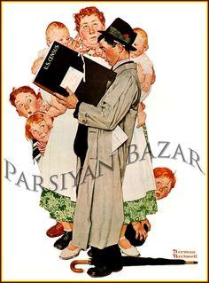 Norman Rockwell: Census Taker, Vintage Old Art Print # 303
