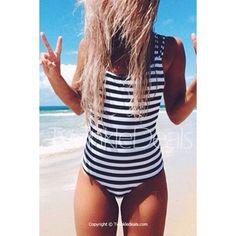 Stylish U Neck Striped Backless One-Piece Swimsuit For Women