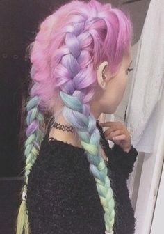 French braids, pastel pink, green, and purple with Chokers.