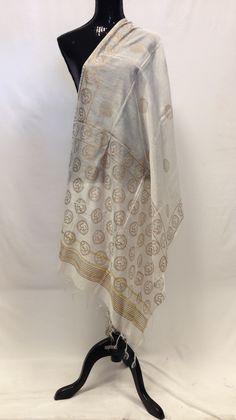Semi Silk Om Dupatta - Off White