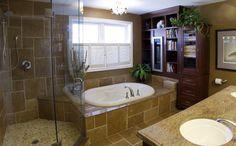 Traditional Bathroom Light Gray Cabinets And Bathroom