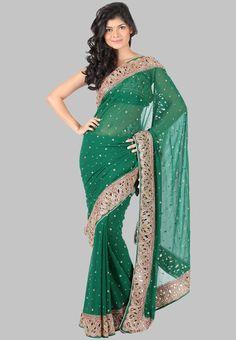 Embellished Green Saree - Mksp Online Shopping - Sareez
