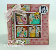 Art Impressions Rubber Stamps @ Hobby Lobby ...  Live, Laugh, Love ... handmade girlfriends window card.