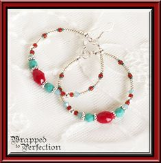 Turquoise Red & Silver Hoop Earrings / by WrappedToPerfection, $22.00