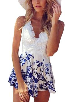 White Lace Contrast Spaghetti Beach Playsuit - US$17.95 -YOINS