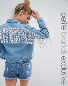 Image 1 of Liquor & Poker Petite Denim Jacket With Sequin Trim Back…