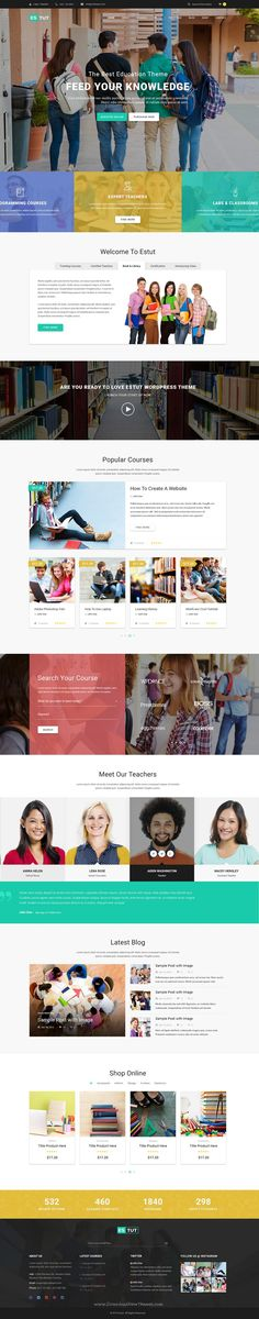 ESTUT is Premium Responsive WordPress Theme for #Education elearning Online Course #website. #college #school Download Now
