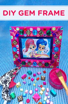 Shimmer and Shine Gem Frame Craft ~ Glue rhinestone gems to a picture frame for a magically bedazzled keepsake!
