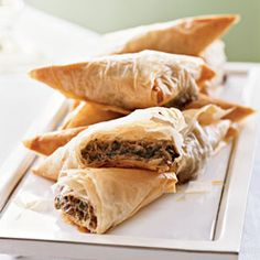 Creamy Mushroom Phyllo Triangles. Only 49 calories a piece, and sooo delicious! No. 1 on the: Top 10 Healthy Christmas Party Finger Foods