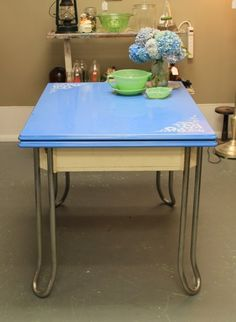 Pretty Blue Enamel Table With Sliding Leaf