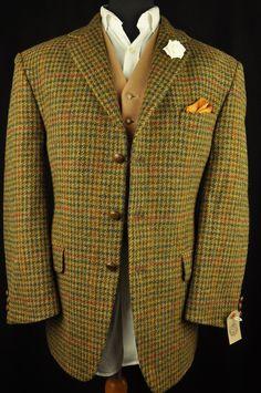 "Vtg Harris Tweed Houndstooth Country Tailored Hacking Jacket 44"" Short #110 MINT | eBay"