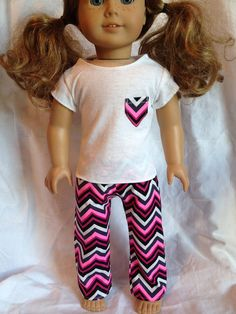 American Girl Doll Pj Pajama Set Pink Chevron Pocket Tee Set 18 Inch Doll…