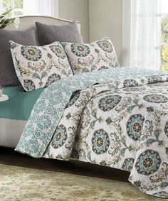 Look what I found on #zulily! Gray & Blue Mikaela Quilt Set #zulilyfinds