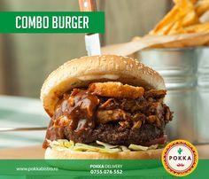Carne de vită proaspăt tocată, carne de porc marinată și preparată la cuptor, ceapă roșie pane, cașcaval, salată, roșii  – servit alături de sos BBQ, sos tartar și cartofi prăjiți #Pokka #Burgers