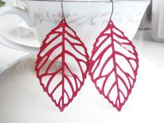 Statement Earrings - Red Leaf Earrings