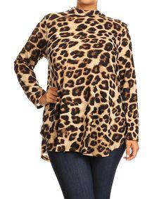 Loving this Mocha Leopard Mandarin Collar Tunic - Plus on #zulily! #zulilyfinds