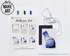 Halloween Cat Watercolor Kit Watercolor Art Diy, Watercolor Projects, Watercolour Tutorials, Watercolor Animals, Watercolor Techniques, Watercolor Flowers, Watercolor Paintings, Halloween Cat, Spirit Halloween