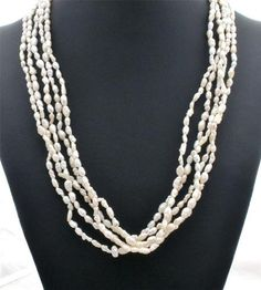 Sterling Silver Freshwater Pearl Multi 5 Strand Estate Necklace | eBay