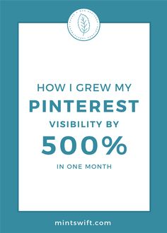 How I Grew My Pinterest Visibility by 500% in One Month | Learn my exact tactics which helped me grow my Pinterest visibility by 500% in just one month! See how I was able to increase my website traffic from Pinterest on autopilot. Continue reading at mintswift.com #mintswift by Adrianna Leszczynska #pinterestmarketing #websitetraffic #creativeentrepreneur Business Checks, Business Tips, Online Business, Make Money From Home, How To Make Money, One Month, Pinterest For Business, Earn Money Online, Pinterest Marketing