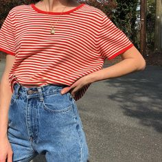Vintage candy striped cotton ribbed 90s tee