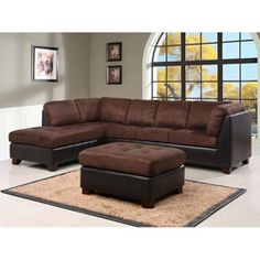 This Charlotte dark brown sectional sofa and ottoman set features faux leather on the sides and back for added durability. The ultra comfortable cushions are filled with the highest quality density foam for a relaxing sit every time.
