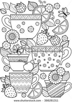 Hand draw vector coloring book for adult. Cups of tea, fruits and flowers: compre este vector en Shutterstock y encuentre otras imágenes. Coloring Book Pages, Coloring Sheets, Book Page Flowers, Mandala Coloring, Printable Coloring, Free Coloring, Embroidery Patterns, How To Draw Hands, Draw Vector