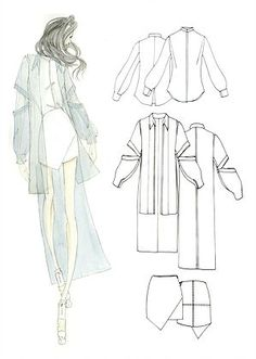 A fashion illustration on the left. A fashion technical drawing on the right. Illustration Mode, Fashion Illustration Sketches, Fashion Sketchbook, Fashion Sketches, Design Illustrations, Sketchbook Ideas, Fashion Design Classes, Fashion Design Portfolio, Fashion Design Drawings