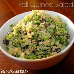 Looking for that perfect Thanksgiving side dish? Make this Fall Cauliflower Quinoa Salad with Raisins from He and She Eat Clean! You can't even taste the hidden vegetables! #Sponsored by @collegeinnbroth #POURLOVEINN