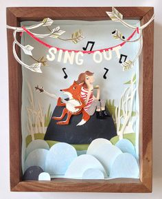 SING OUT - original cut paper artwork on Etsy, $175.00