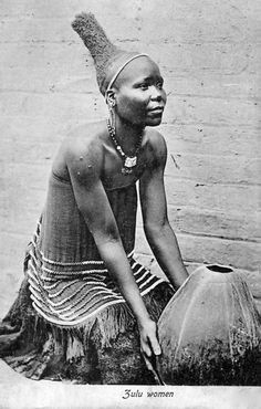 Africa | Zulu women created cone shaped upward coiffure designs.  South Africa.  | Vintage postcard; ca. 1910