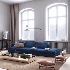 Dark blue sofa living room Reflective surfaces
