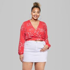 1dd1b1e592 Women s Plus Size Floral Print Long Sleeve Wrap Front Crop Top - Wild Fable™  Red